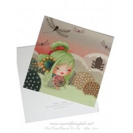 Carte d'art carrée 14x14 cm  'Kokeshi Libellules'
