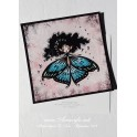 Carte d'art carrée 14x14 cm  'Butterfly Fairy bleue'
