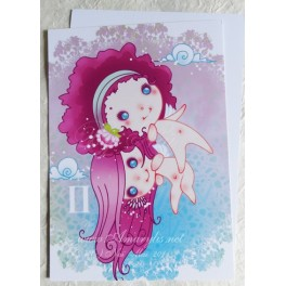 """Carte d'art A6 """"Signe du Zodiaque Gémeaux"""""""