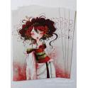 "Carte d'art A6 ""Geisha Coquelicots"""