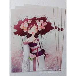 """Carte d'art A6 """"Geisha Dahlia"""""""