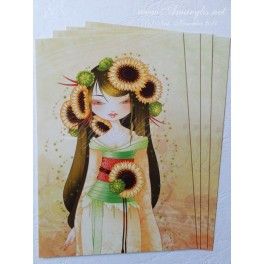 "Carte d'art A6 ""Geisha Tournesol"""
