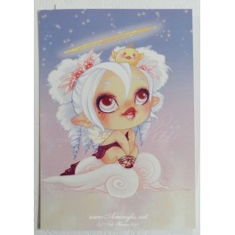 """Carte d'art A6 """"Lou Angel et Piou"""""""