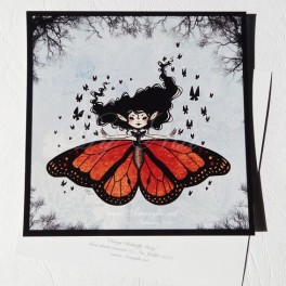 "Carte d'art carrée 14x14 cm  ""Butterfly Fairy Orange"""