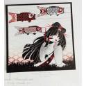 """Carte d'art carrée 14x14 cm  """"Kokeshi Koi Nobori"""""""