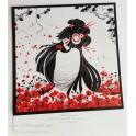 """Carte d'art carrée 14x14 cm  """"Kokeshi Coquelicots"""""""