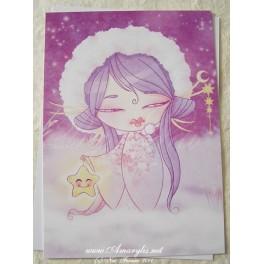 """Carte d'art A6 """"Kokeshi Etoile"""""""