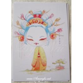 """Carte d'art A6 """"Kokeshi Bonzai"""""""