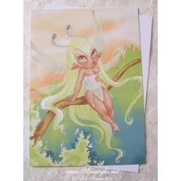 "Carte d'art A6 ""Fairy Paon"""