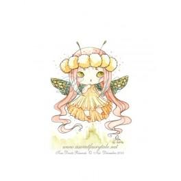 Mini Aquarelle d'une petite fée libellule style manga
