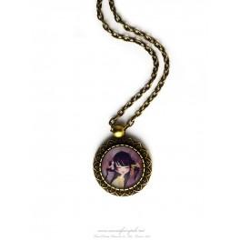 Collier pendentif geisha cabochon verre illustré 18x18 mm