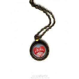 Collier pendentif oiseau cabochon verre illustré 18x18 mm