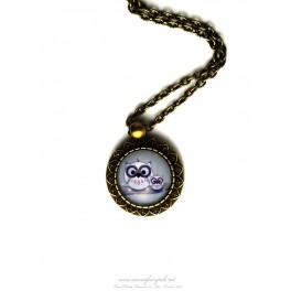 Collier pendentif hiboux cabochon verre illustré 18x18 mm