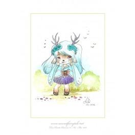 Aquarelle Illustration originale Fille cerf