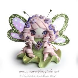 Petite fée rose et verte figurine poupée en pâte polymère fimo, 5 cm style manga