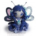 Petite fée bleu figurine poupée en pâte polymère fimo, 5 cm style manga