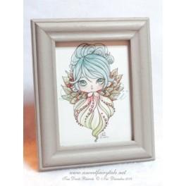 Mini Aquarelle sous cadre d'une petite fée feuillue style manga