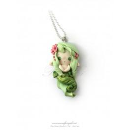 Collier avec pendentif poupée fimo hippocampe , pate polymère fait main