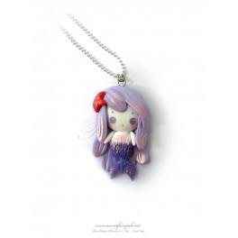 Collier avec pendentif poupée fimo sirène , pate polymère fait main