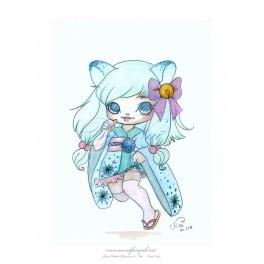 Aquarelle d'une petite Neko style manga