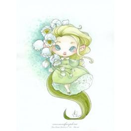 Aquarelle d'une petite fée fleur de muguet style manga