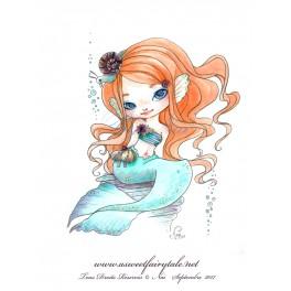 Aquarelle d'une petite Sirène style manga