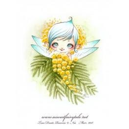"Carte d'art carrée 14x14 cm  ""Fée mimosa"""
