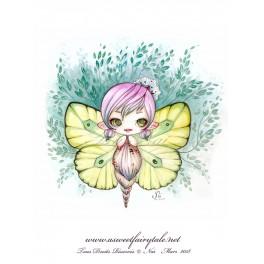 """Carte d'art carrée 14x14 cm  """"Fée papillon"""""""