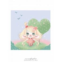 """Carte d'art carrée 14x14 cm  """"Lou souris"""""""