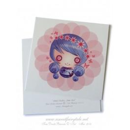 """Carte d'art carrée 10x10 cm """"Little Dollie fillette"""""""