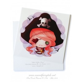 """Carte d'art carrée 10x10 cm """"Little Dollie pirate"""""""