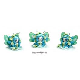 Petite fée bleu figurine poupée en pâte polymère fimo, 4 cm style manga