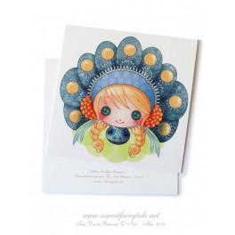 """Carte d'art carrée 10x10 cm """"Little Dollie Russe"""""""