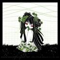 """Carte d'art carrée 14x14 cm  """"Kokeshi Ginkgo"""" symbole d'amour et de longévité"""