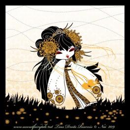 """Poster 30x30 cm  """"Kokeshi Chrisanthème"""" symbole de bonheur et d'immortalité"""