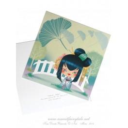 Carte d'art carrée 14x14 cm  'Kokeshi Ginkgo'